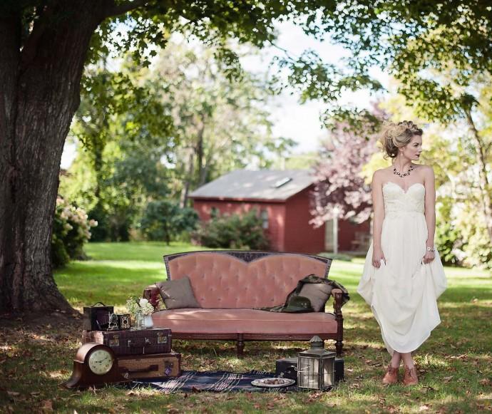jardin idee mariage canape vintage pose invites