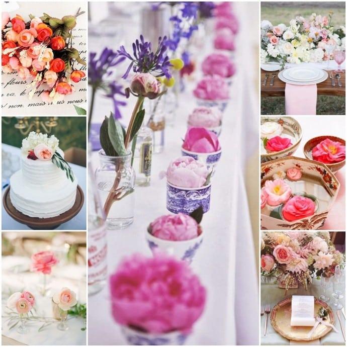 montage mariage theme fleur camelia