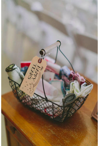 mouchoirs tissu mariage reception accueil invites