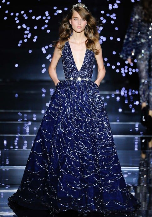 robe de mariee bleue collection de zuhair murad