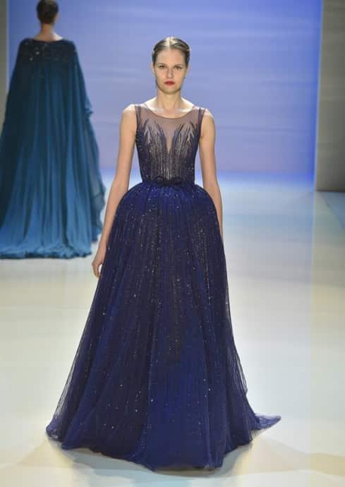 robe de mariee bleue paillettes georges hobeika