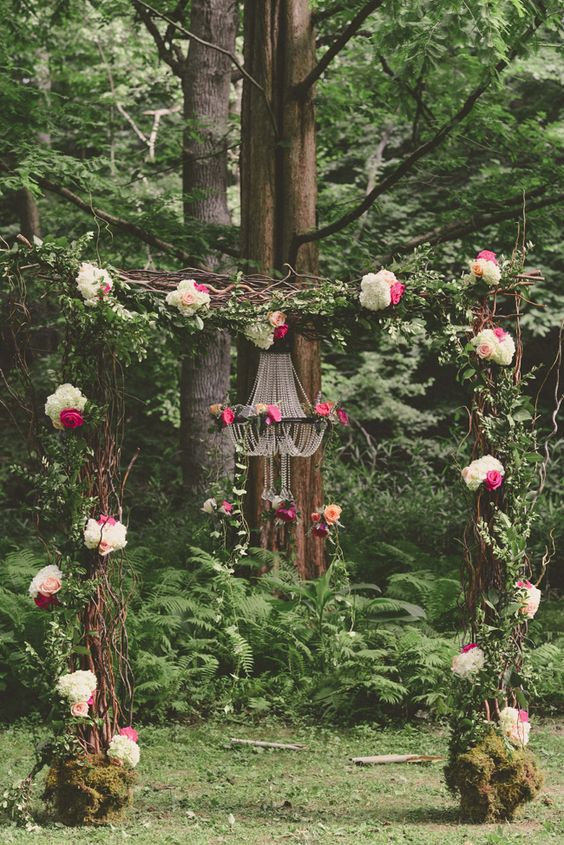 arche mariage bouquets foret enchantee