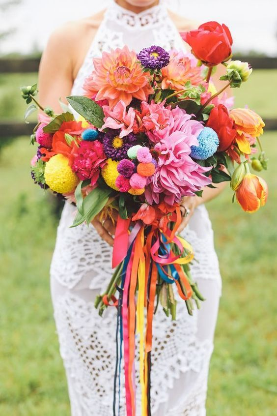 bouquet de mariee multicolore