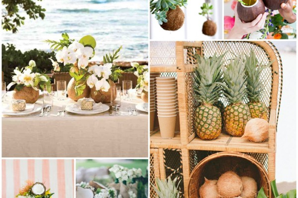 montage photo noix de coco mariage tropical