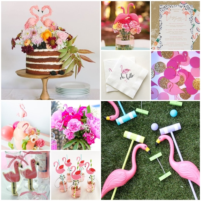 planche mariage tropical flamants roses