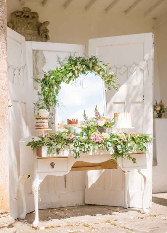 sweet table verdure shabby chic