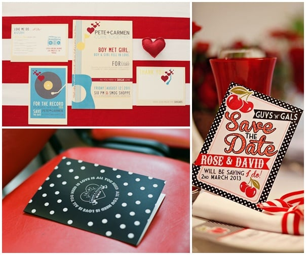 trio invitations mariage sixties rouge