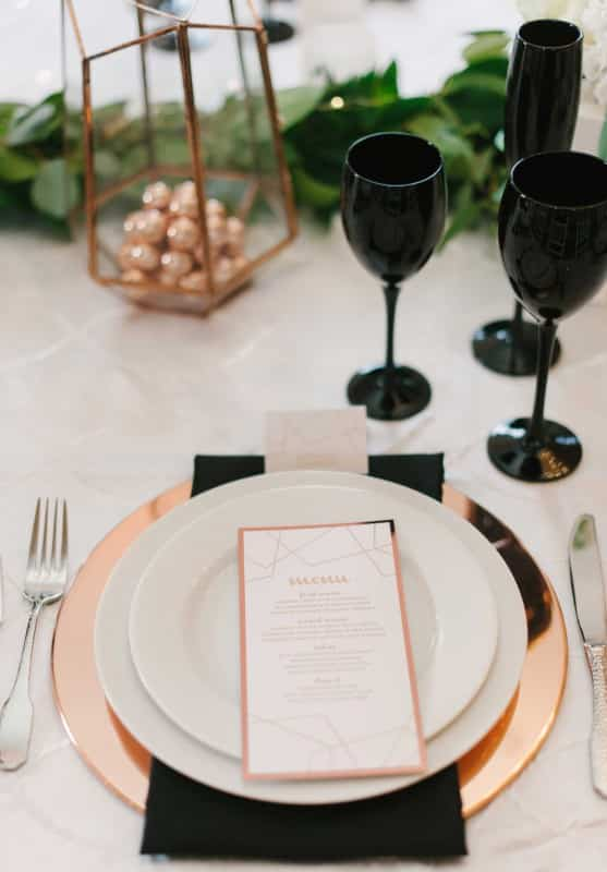 decoration de table rose gold et noir