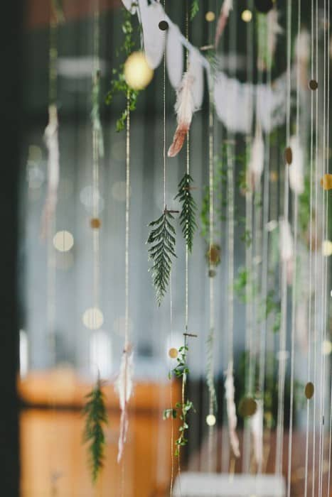 decoration mariage foret suspension branches de pin