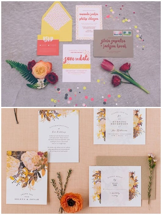 duo d invitations couleurs chaudes