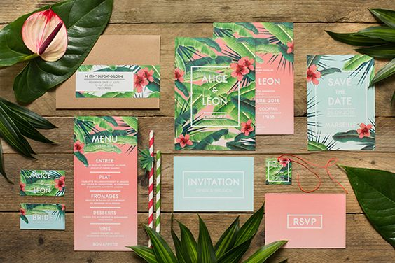 invitation mariage theme tropical palmier
