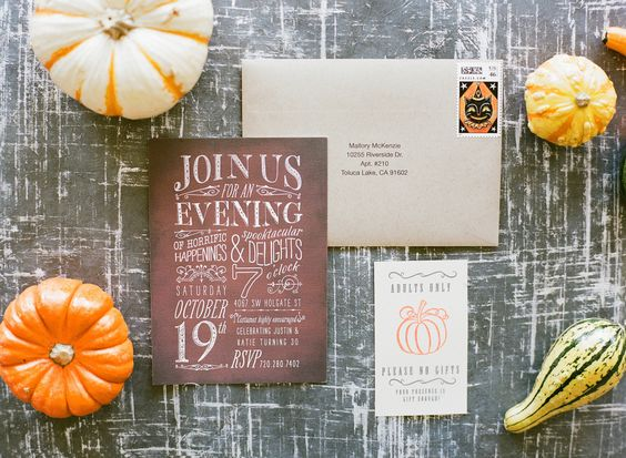 invitations mariage automne decoration courges
