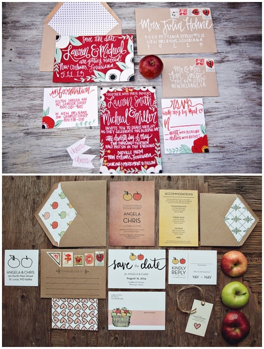 invitations mariage pomme duo