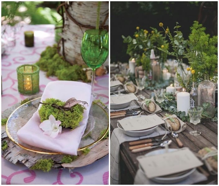 presentation de table de mariage foret enchantee