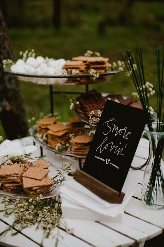 sweet table de smores mariage foret
