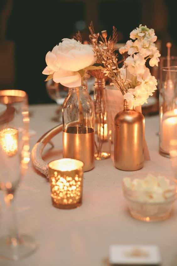 vases et bougeoirs table mariage rose gold