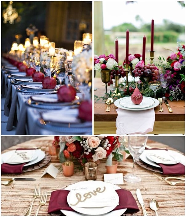 examples decoration de table de mariage marsala