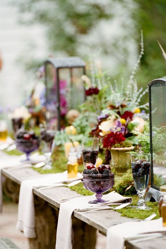 table mariage nature automnale mousse