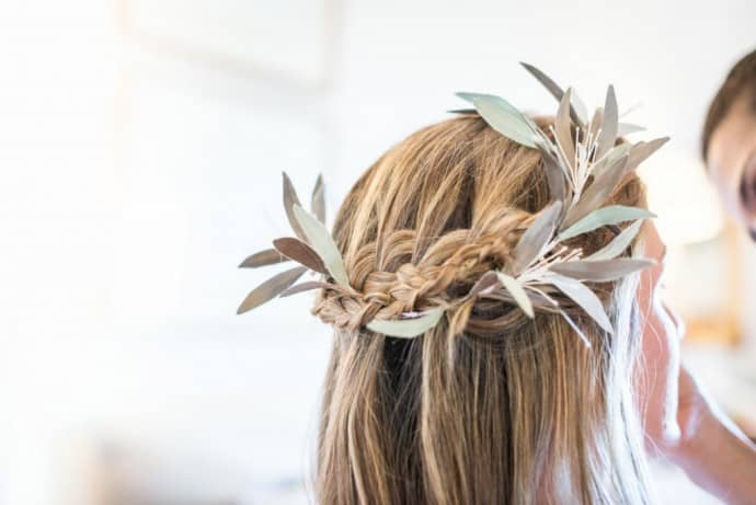 tresse couronne feuilles olivier