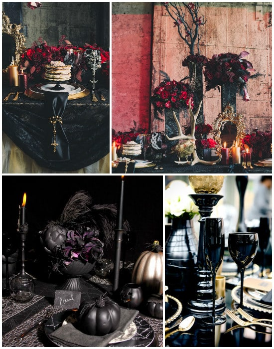 details elements decoratifs tables gothique chic