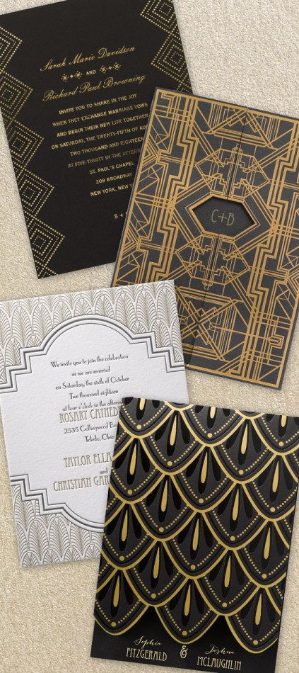 invitations mariage gatsby or et noir