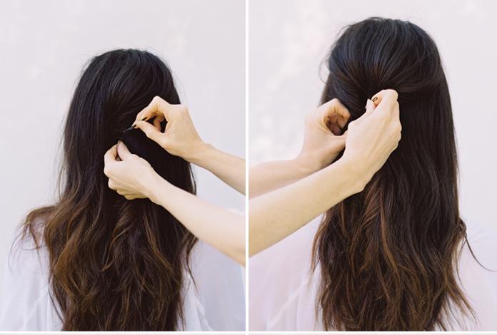 DIY coiffure de mariage cheveux laches premiere etape