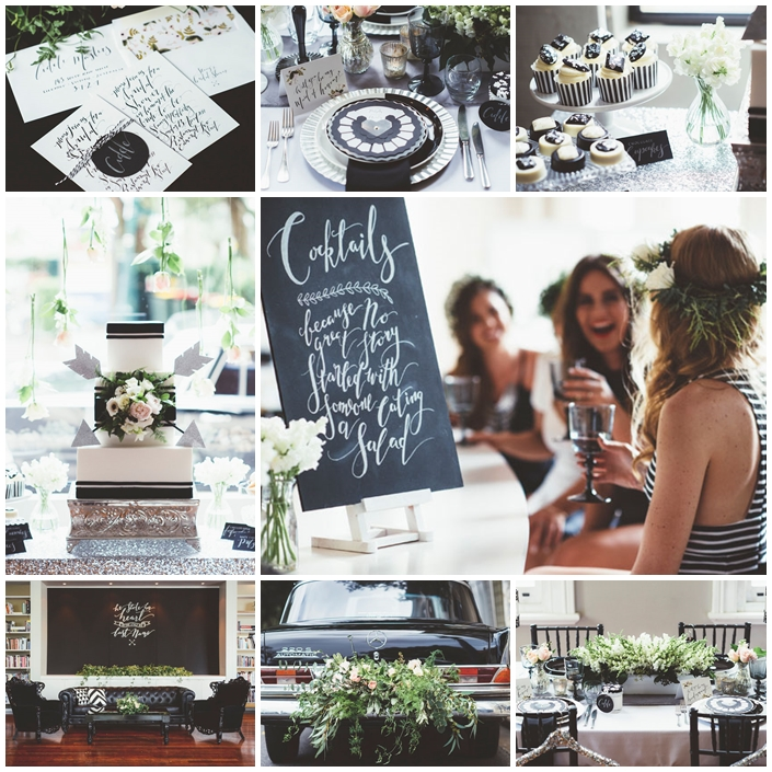 Planche mariage decoration monochrome bridal shower
