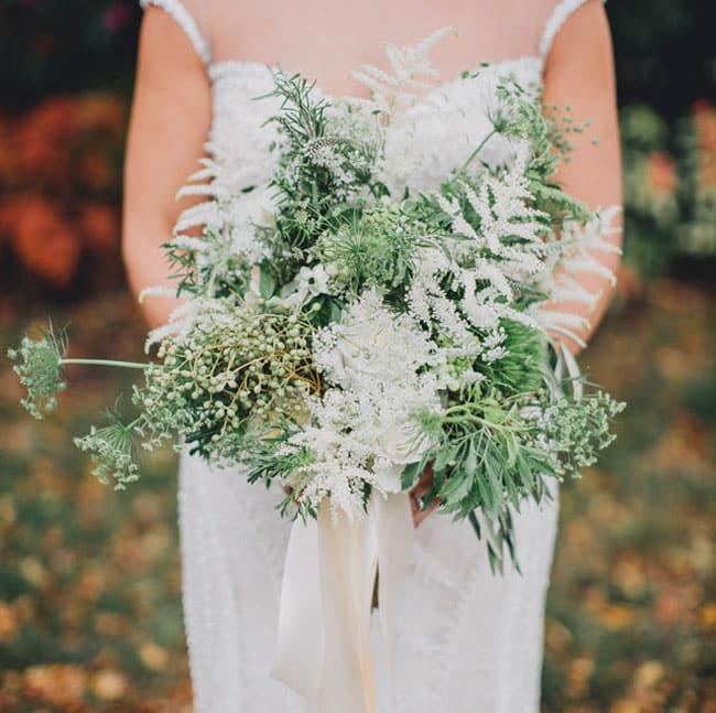 bouquet sauvage vert et blanc