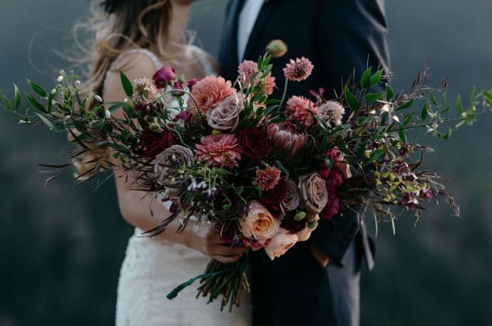 bouquet violet et rose couple