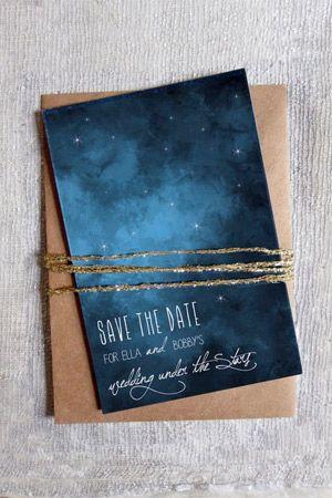 faire part mariage constellation bleu beige