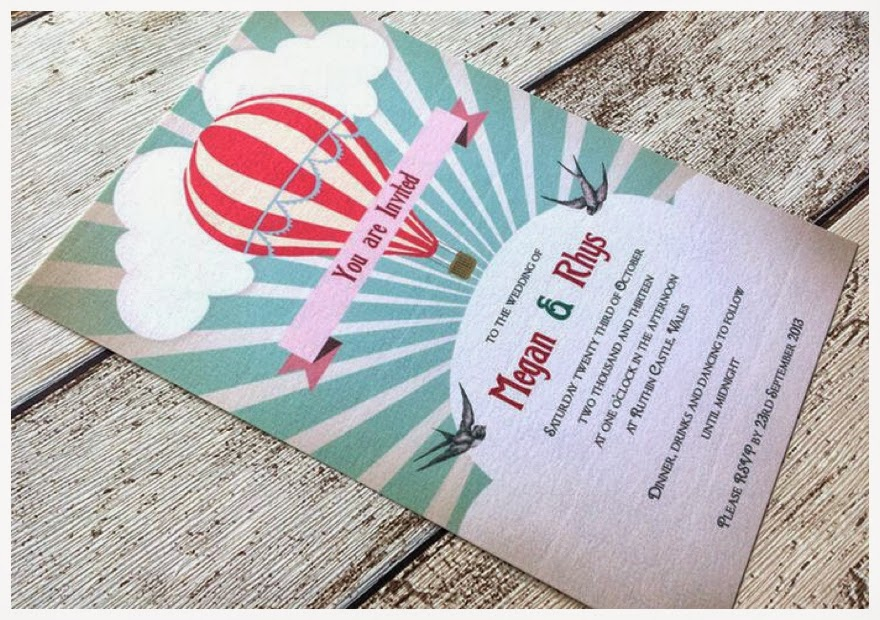 invitation de mariage theme montgolfiere