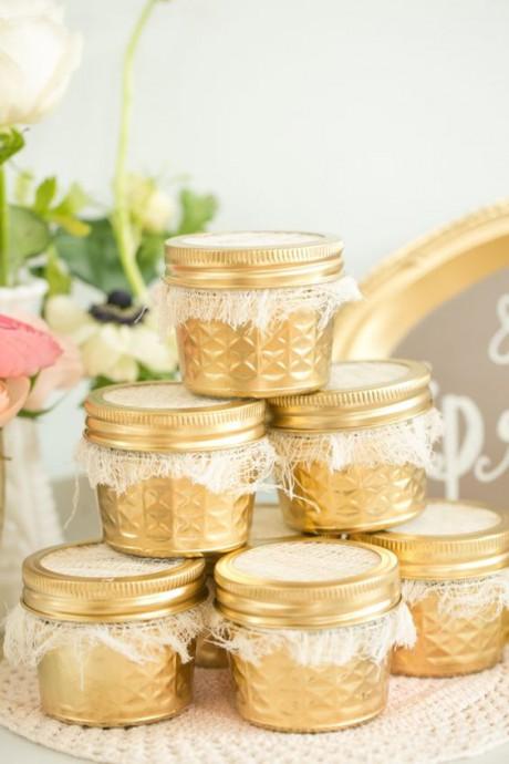 mariage dore cadeaux invites pots dores