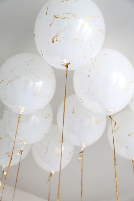 mariage dore decoration ballons blanc et dore