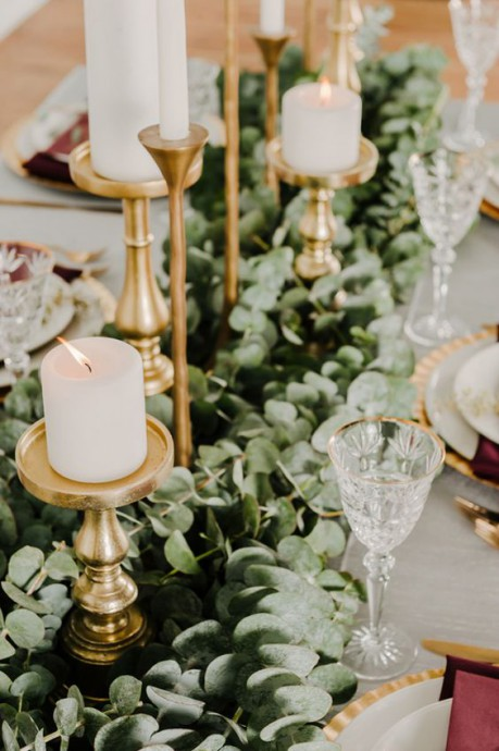 mariage dore decoration table bougeoires dores