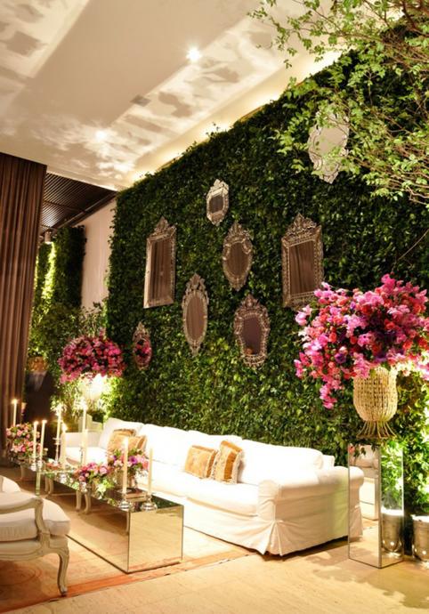 mur vegetal miroirs mariage