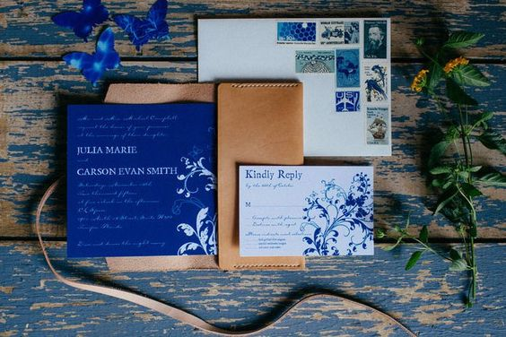 invitation matriage bleu indigo