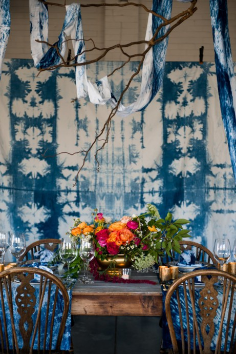table reception bleu indigo deco
