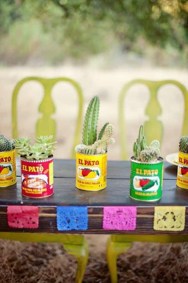 boite de conserve decoration mariage cactus