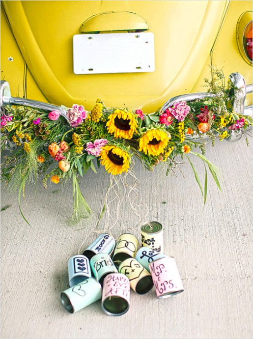 mariage-boîtes de conserve-voiture