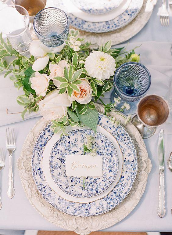decoration table mariage bleu
