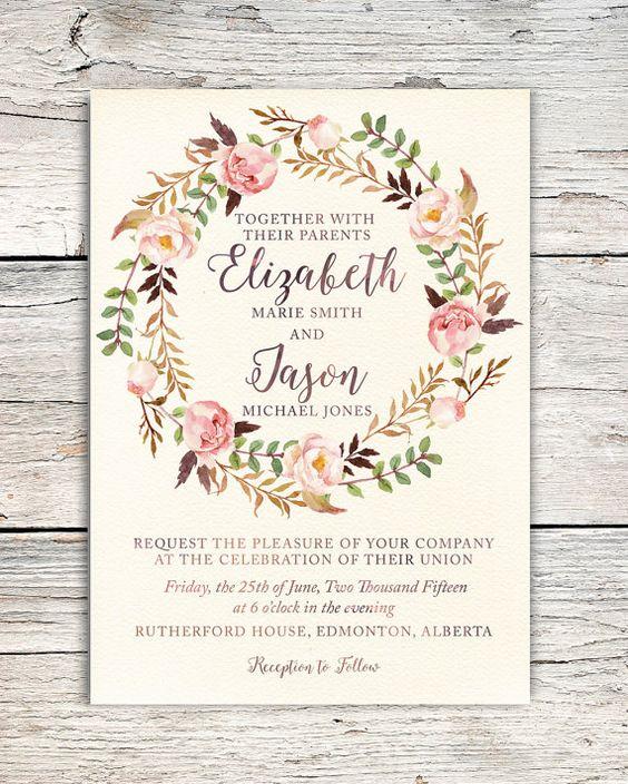 jardin anglais mariage faire part fleuris