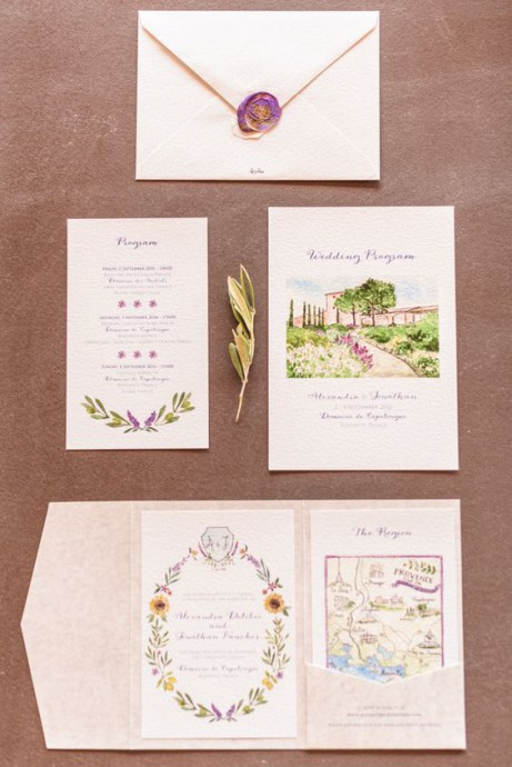 mariage campagne chic faire part illustrations