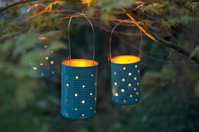 mariage decoration recuperation boite de conserve lanterne
