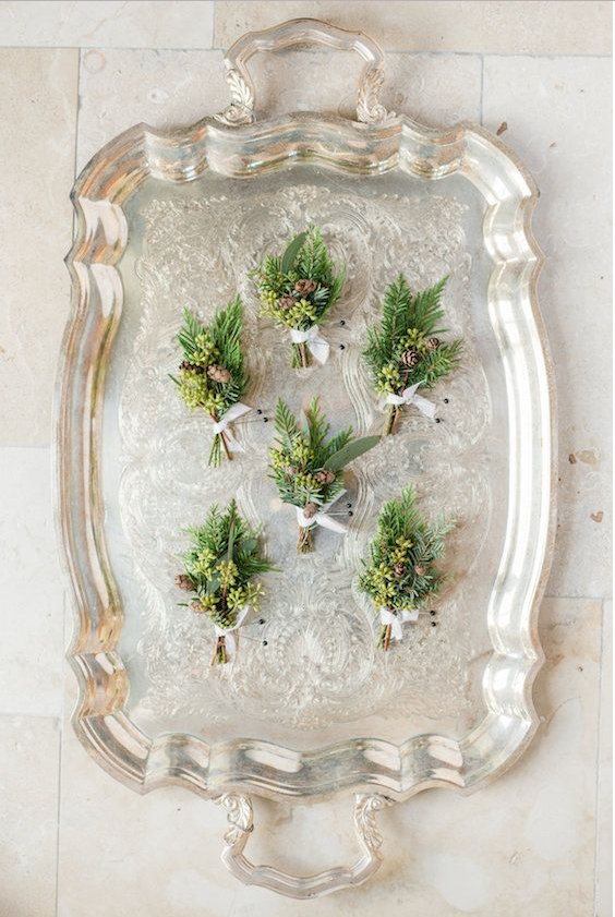 mariage greenery boutonniere vegetales