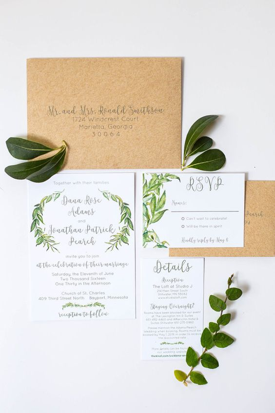 mariage greenery faire part feuille