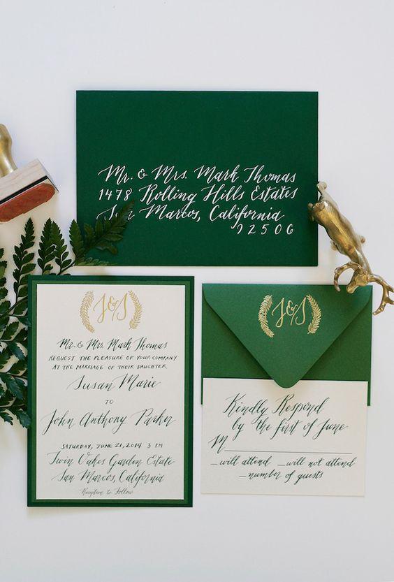 mariage greenery faire part vert