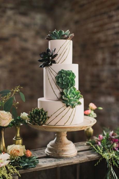 mariage greenery gateau plantes