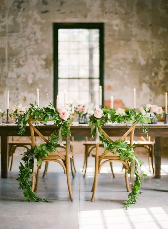 mariage greenery table des maries