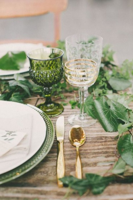 mariage greenery table reception