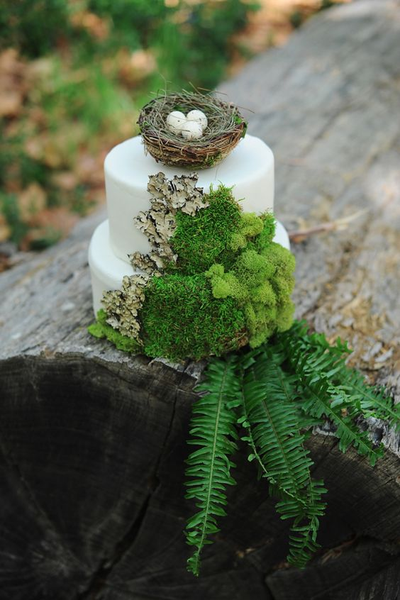 wedding cake mousse et nid pour theme greenary